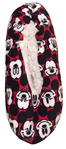 Mickey Mouse Womens Slippers Fuzzy Babba Slipper Socks Red (S/M (5.5-7.5))