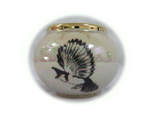 Image of Ceramic Bird Feeder Cup Cheeked Bulbul Expand the Wings Designed White Pearl Color and Golden Edge (B00ASCNHX2)