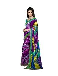 Triveni Vibrant Color Faux Georgette Printed Saree 67018a