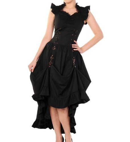 BANNED Victorian Black/Copper STEAMPUNK DRESS Ruffle Adjustable M 10
