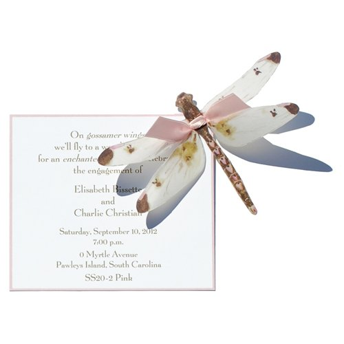Small Pink Dragonfly Die-Cut Card, Pack Of 10 front-493723