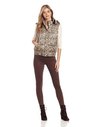 Calvin Klein Performance Women's Hooded Print Puffer Vest, Leopard Print, Small