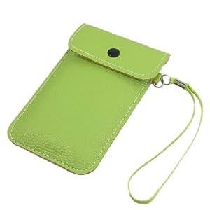 Press Stud Button Green Faux Leather Cellphone Pouch Bag Case w Strap