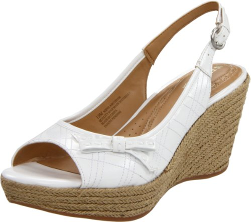 Naturalizer Women's Nieva Wedge Sandal,White,8 W US