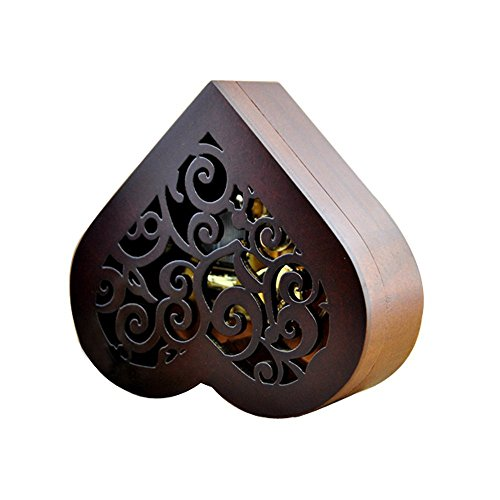 Heart Shape Vintage Wood Carved Mechanism Musical Box Wind Up Music Box Gift For Christmas/Birthday/Valentine's day, Melody Castle in the Sky 5