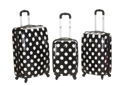 Rockland Luggage 3 Piece Laguna Beach Upright Luggage Set, Black Dot, Medium special offers