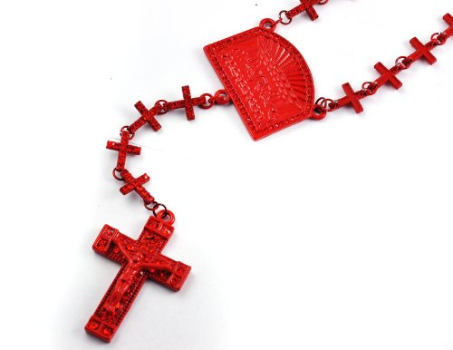 New! Iced Out Cross Linked Chain Rosary w/ The Last Supper & Paves Cross RED