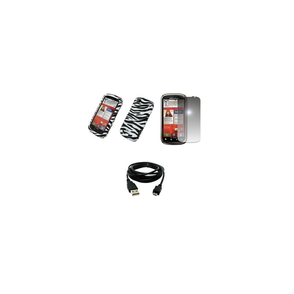 EMPIRE Black and White Zebra Stripes Design Hard Case Cover + Mirror Screen Protector + USB Data Cable for T Mobile Motorola CLIQ 2