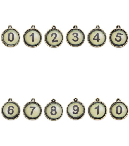 Typewriter Key Charms Steampunk Vintage Numbers 0-10 Package of 12