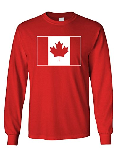 CANADIAN FLAG - canada canuck funny Long Sleeved Tee Shirt T-Shirt, M, Red (Canada Longsleeved Shirt compare prices)