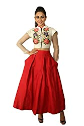 Clickedia Women's Bangori Silk Red Lehenga- Indo-western Lehenga Material