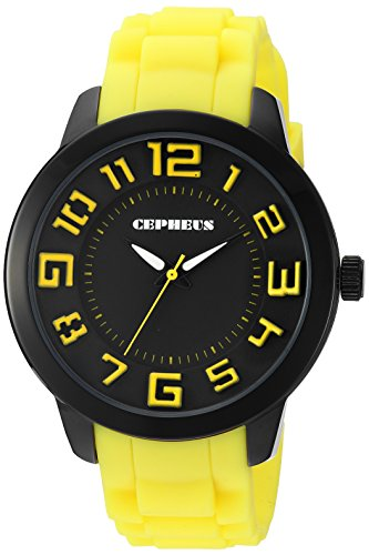 Cepheus Women's Quartz Watch with Black Dial Analogue Display and Yellow Silicone Strap CP604-623C
