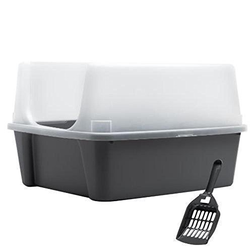 Cat Supplies IRIS Open Top Cat Litter Box Kit with Shield and Scoop, Gray New (Auto Cleaning Cat Liter Box compare prices)