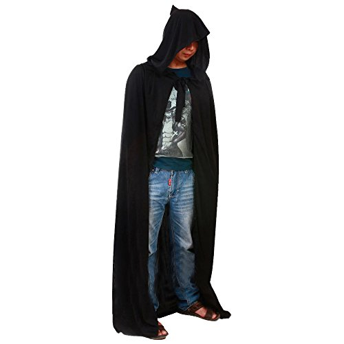Hooded Cloak Capes Long Tippet Fancy Dress Adult Halloween Costume Gothic Black Witch Vampire Robe