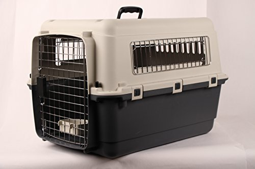 JunkieDog 27″ Airline Approved Plastic Dog / Cat Pet Kennel Carrier or Air Travel with Chrome Door and Free Cup Foldable Dog Travel Crate