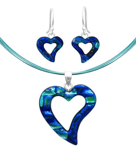 Sterling Silver Dichroic Glass Blue and Green Cut-Out Heart-Shaped Pendant Necklace and Earrings Set, 18