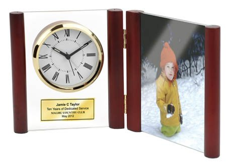 Hinged Glass Book Clock in Rosewood Finished Posts with Photo Frame Holds 4 X 6 Picture. Personalized Service Gift Retirement Award Employee Recognition Anniversary Wedding Appreciation Personalized Engrave Gift
