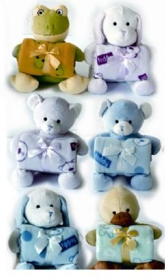 Fleece blankets for kids with free stuffed animals, Blue Dog
