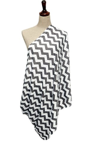 Infinity Nursing / Breastfeeding Scarf by nGenius, 100% Cotton (Chevron Grey & White)