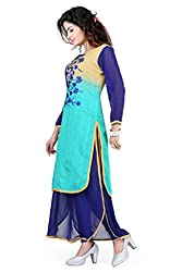 Feather Touch Women's Cotton Kurti (FT2907RG3_Green Pink_44)