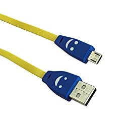 AKSHAJ 3M (9 FEET) LED Lighting Smiley USB Only CHARGING Cable (NO DATA SYNC) for Samsung Nokia LG Micro max Sony HTC (Yellow)