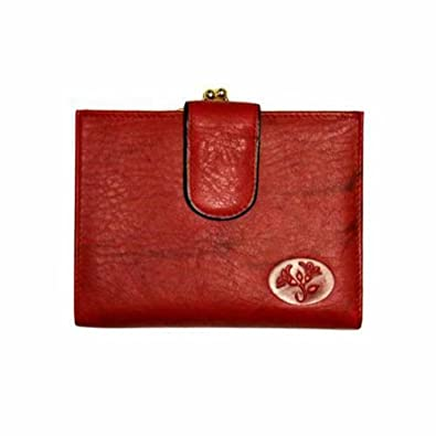 Red Buxton Leather Credit Card Midsize Wallet