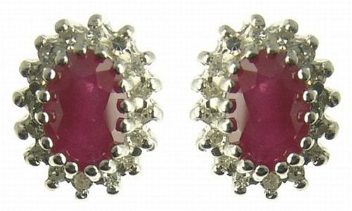 Ladies' Ruby and Cluster Stud Earrings, 9ct Yellow Gold, Cluster Set, I2 Diamond Clarity, 0.32 Carat Diamond Weight, Model 9-ER566RDI