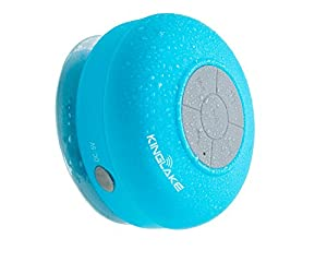 KINGLAKE® Waterproof Wireless Bluetooth Shower Speaker Handsfree Speakerphone Compatible with All Bluetooth Devices Iphone 5s and All Android Devices (Blue)
