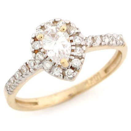 10K Solid Yellow Gold Pear Shape CZ Promise Ring