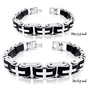 WOW HIS and HERS Tribal Style Very Rare. Love, Peace and Strength Meanning Mens 8.5 Inch Bracelet and Ladies 7.5 inch Bracelet High Quality Stainless Steel