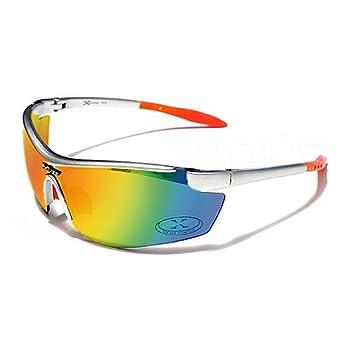 X-Loop Lunettes de Soleil - Sport - Cyclisme - Ski - Conduite - Motard / Mod. 3550 Argent Orange / Taille Unique Adulte / Protection 100% UV400