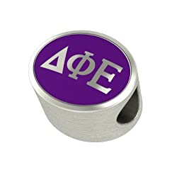 Delta Phi Epsilon Enamel Sorority Bead Charm Fits Most European Style Bracelets. High Quality Bead in Stock for Fast Shipping