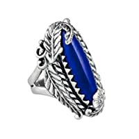 Relios Sterling Silver Lapis Leaf and Flower Ring from Relios