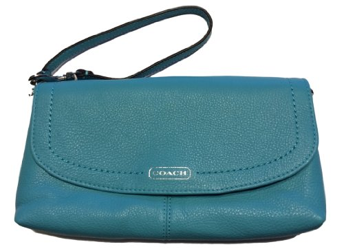 Coach   Coach Park Leather Large Flap Wristlet SV/Turquoise F49177
