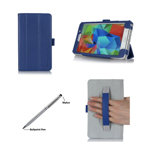 Procase Samsung Galaxy Tab 4 7.0 Case With Bonus Stylus Pen - Smart Cover Case With Stand For 7 Inch Tab 4 Tablet 2014 (Sm-T230 / T231 / T235), With Hand Strap (Navy, Dark Blue)