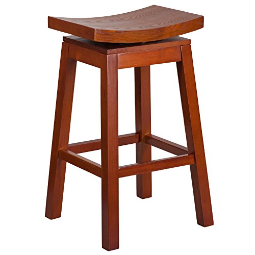 flash-furniture-30-high-saddle-seat-light-cherry-wood-barstool-with-auto-swivel-seat-return