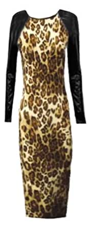 NICOLE CELEB STYLE WET LOOK FAUX LEATHER LOOK CAP SLEEVE MIDI PARTY DRESS S/M (UK 8 - 10) LEOPARD DRESS PVC ARMS