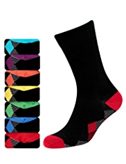 7 Pairs of Freshfeet™ Cotton Rich Diamond Print Socks with Silver Technology