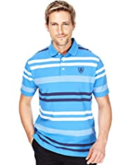 "2"" Longer Blue Harbour Pure Cotton Double Striped Polo Shirt"