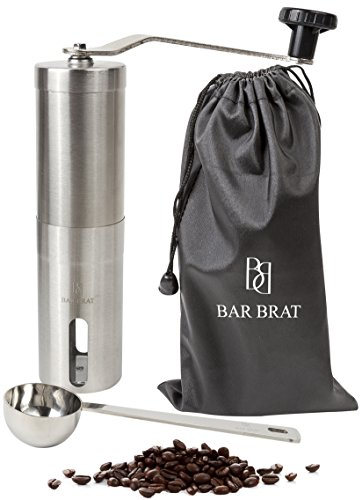 Premium Hand Manual Coffee Grinder Maker + Coffee Scoop / Bonus Travel Bag, Coffee Spoon & Cleaning Brush (Coffe Beans Grinder compare prices)