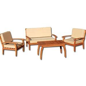 Salotto da giardino in legno esterno con divano 2 poltrone for Divano esterno legno