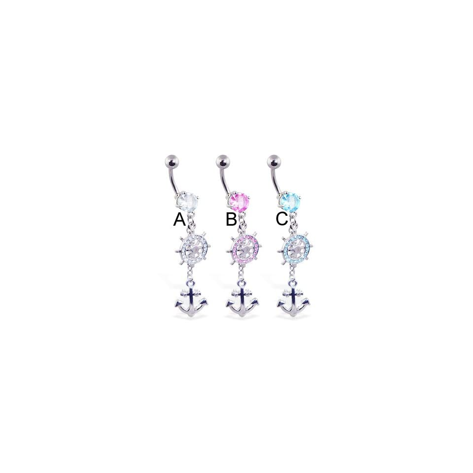 Jeweled belly ring with dangling ships wheel and anchor, clear   A
