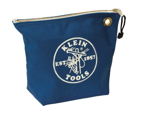 Klein Tools 5539Blu Canvas Zipper Bag For Consumables, Blue