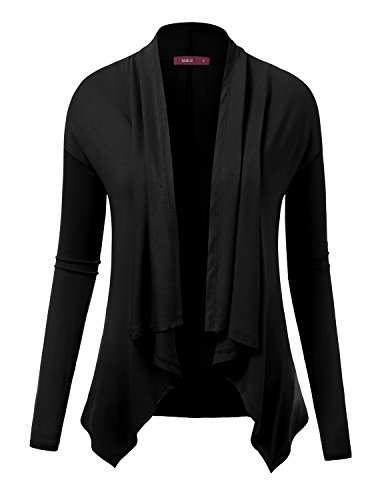 Doublju Lightweight Shawl Collar Draped Open Cardigan BLACK SMALL