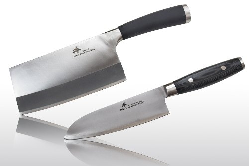 "Zhen Japanese Light Cleaver Chopping Chef Butcher Knife 6.5"" + Santoku Chef Knife 7"" Knife Set, 2-Piece"