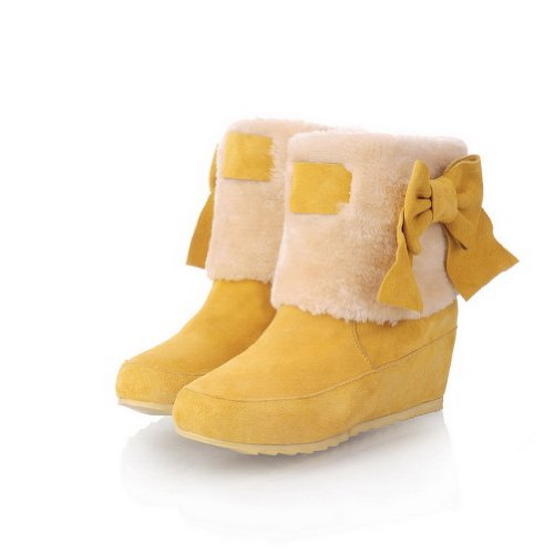 BeautyLover Lady's Candy Sweet Style Frosting Leather Snow Boots with Bowknot,Yellow,41