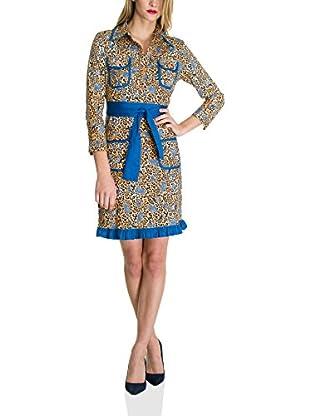 Almatrichi Vestido Camisero Leopard (Camel / Azul)