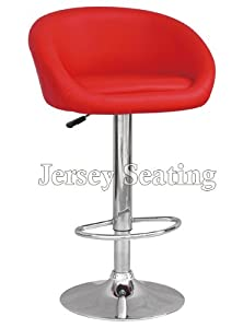 Set Of 2 JERSEY SEATING Red Leather Bar Stool Counter Swivel Chair