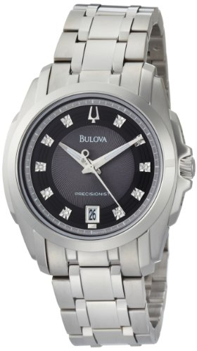 Bulova Men's Precisionist 96D110 Stainless-Steel Quartz Watch with Black Dial