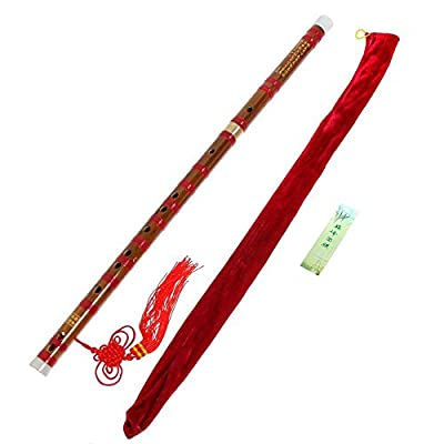 Red Traditional Handmade Dizi Bamboo Flute Chinese Musical Instrument C Key